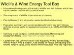 wildlife wind energy tool box