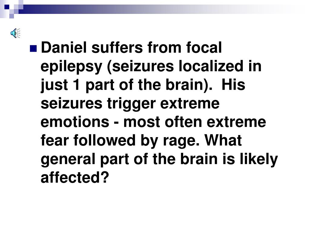 Daniel suffers from focal epilepsy (seizures localized in just 1 part of the brain).  His seizures trigger extreme emotions - most often extreme fear followed by rage. What general part of the brain is likely affected?