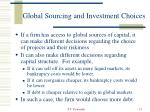 global sourcing and investment choices