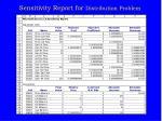 sensitivity report for distribution problem