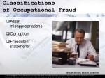 classifications of occupational fraud