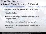 the various classifications of fraud13