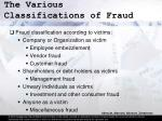 the various classifications of fraud15