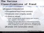 the various classifications of fraud16