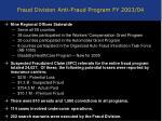 fraud division anti fraud program fy 2003 04