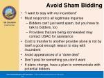 avoid sham bidding