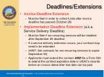 deadlines extensions