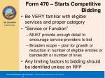 form 470 starts competitive bidding