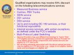 qualified organizations may receive 50 discount on the following telecommunications services