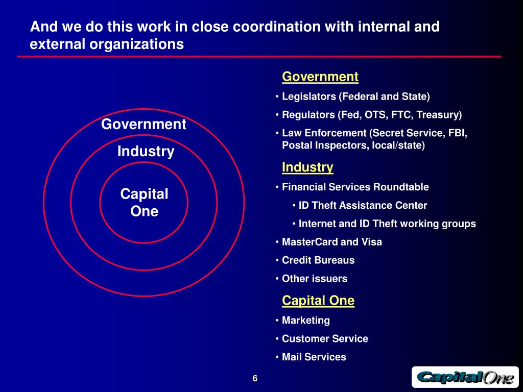 And we do this work in close coordination with internal and external organizations