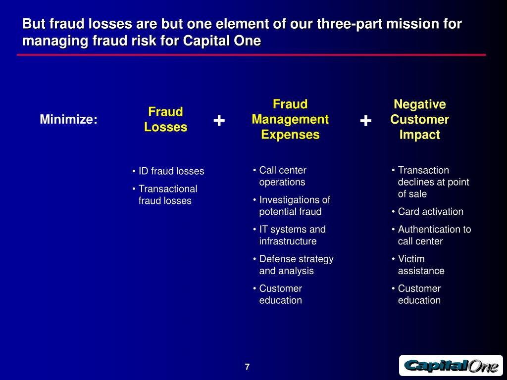But fraud losses are but one element of our three-part mission for managing fraud risk for Capital One