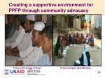 creating a supportive environment for ppfp through community advocacy