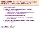 mnh and ppfp behavior change communication strategy and channels of communication