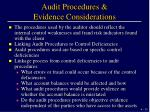 audit procedures evidence considerations