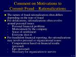 comment on motivations to commit fraud rationalizations
