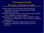 communicating the existence of fraud contd