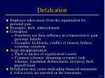defalcation