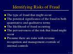 identifying risks of fraud