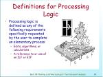 definitions for processing logic