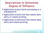 descriptions to determine degree of influence