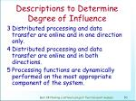 descriptions to determine degree of influence51