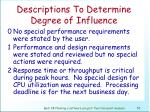 descriptions to determine degree of influence53