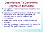 descriptions to determine degree of influence56