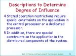descriptions to determine degree of influence57