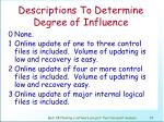 descriptions to determine degree of influence68