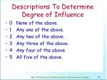 descriptions to determine degree of influence71