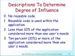descriptions to determine degree of influence73