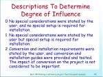 descriptions to determine degree of influence76