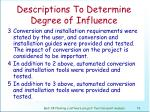 descriptions to determine degree of influence77