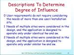 descriptions to determine degree of influence82