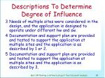 descriptions to determine degree of influence83