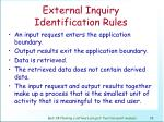 external inquiry identification rules