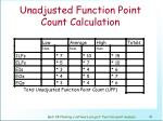 unadjusted function point count calculation