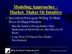 modeling approaches market maker or intuitive