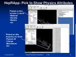 heprapp pick to show physics attributes