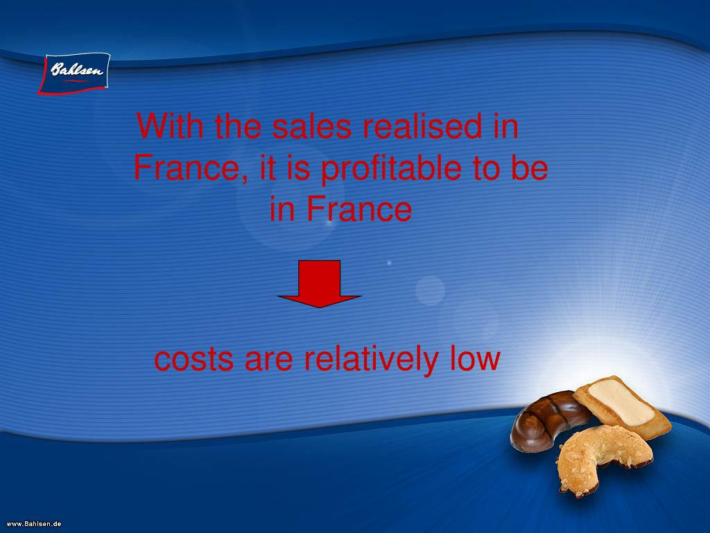 With the sales realised in France, it is profitable to be in France