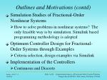 outlines and motivations contd