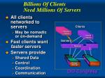 billions of clients need millions of servers