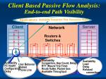 client based passive flow analysis end to end path visibility