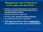 managing the entire it enterprise servers apps nets and clients