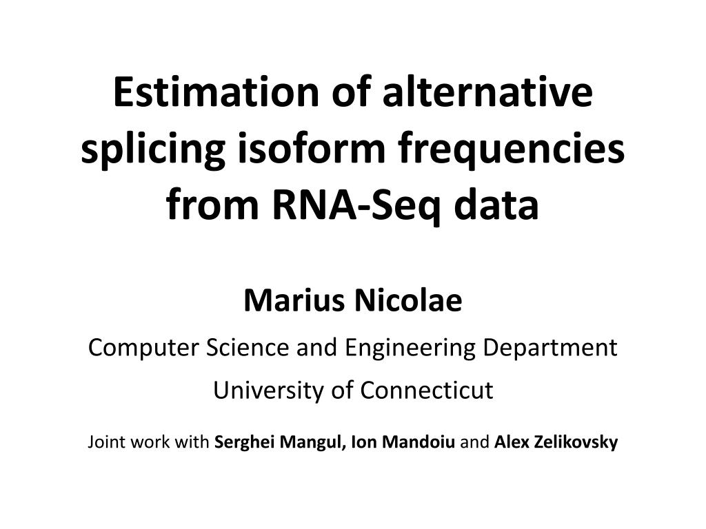 estimation of alternative splicing isoform frequencies from rna seq data l.