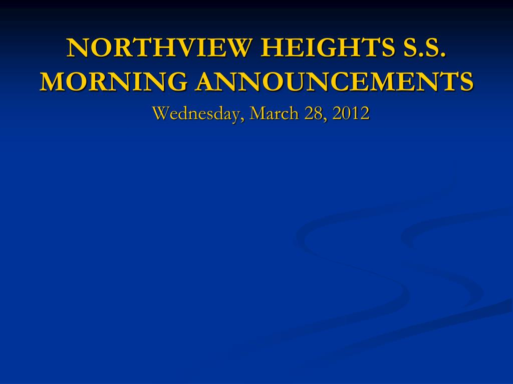 northview heights s s morning announcements l.