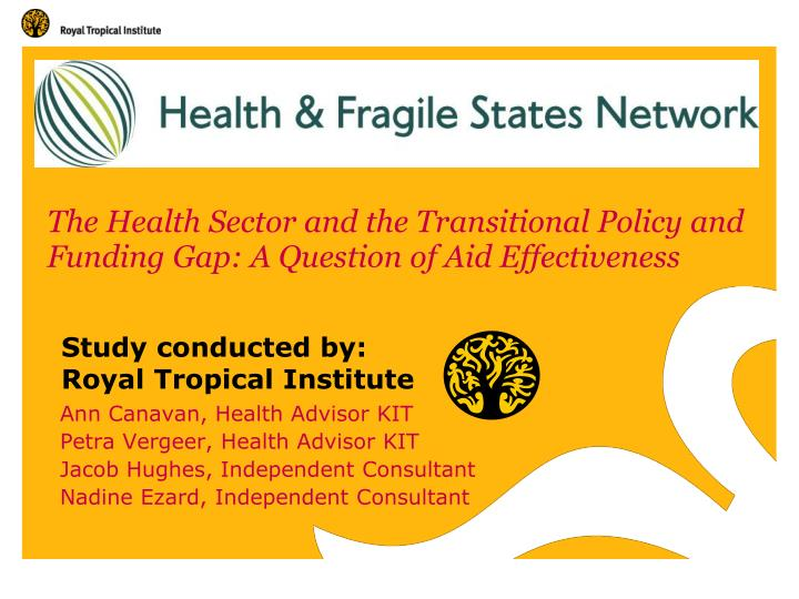 the health sector and the transitional policy and funding gap a question of aid effectiveness n.