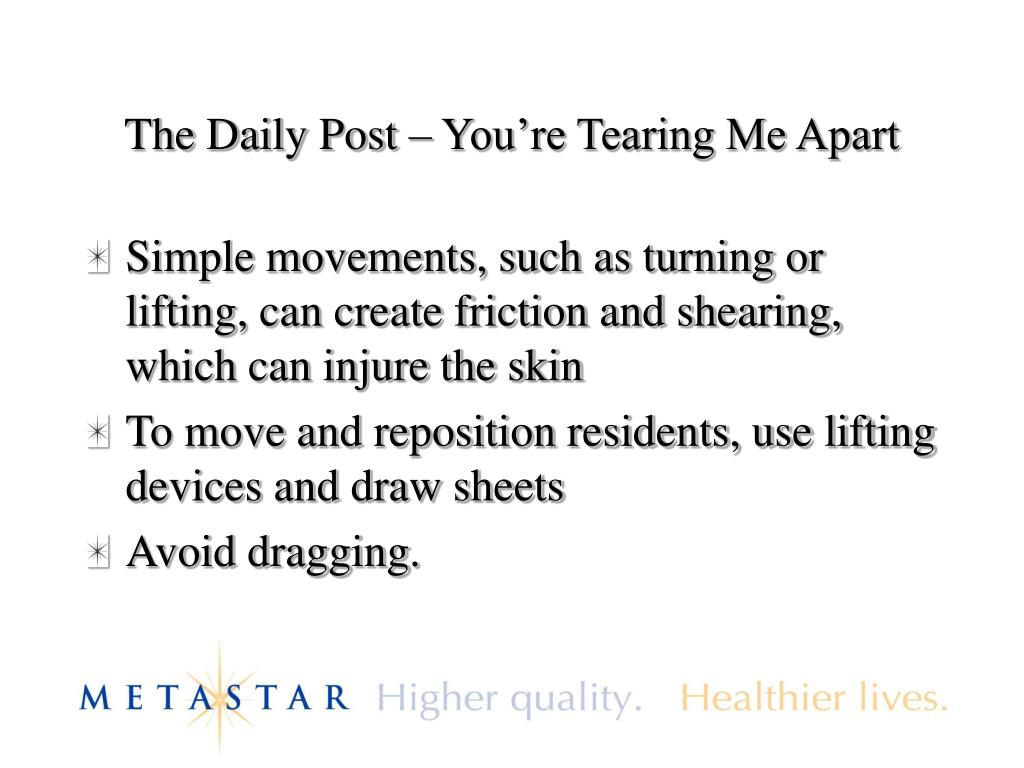The Daily Post – You're Tearing Me Apart