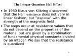the integer quantum hall effect