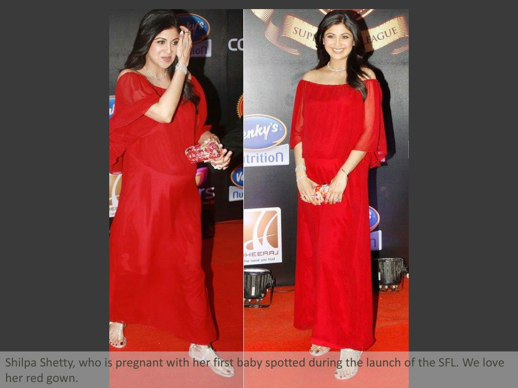Shilpa Shetty, who is pregnant with her first baby spotted during the launch of the SFL. We love her red gown.